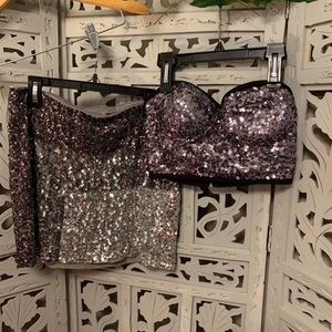 (SOLD) GLITTER CROP TOP AND MINI SKIRT (Sm/Md)